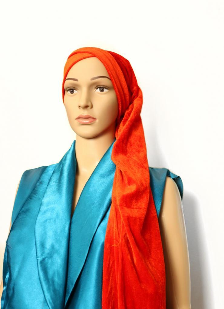 Velvet turban orange