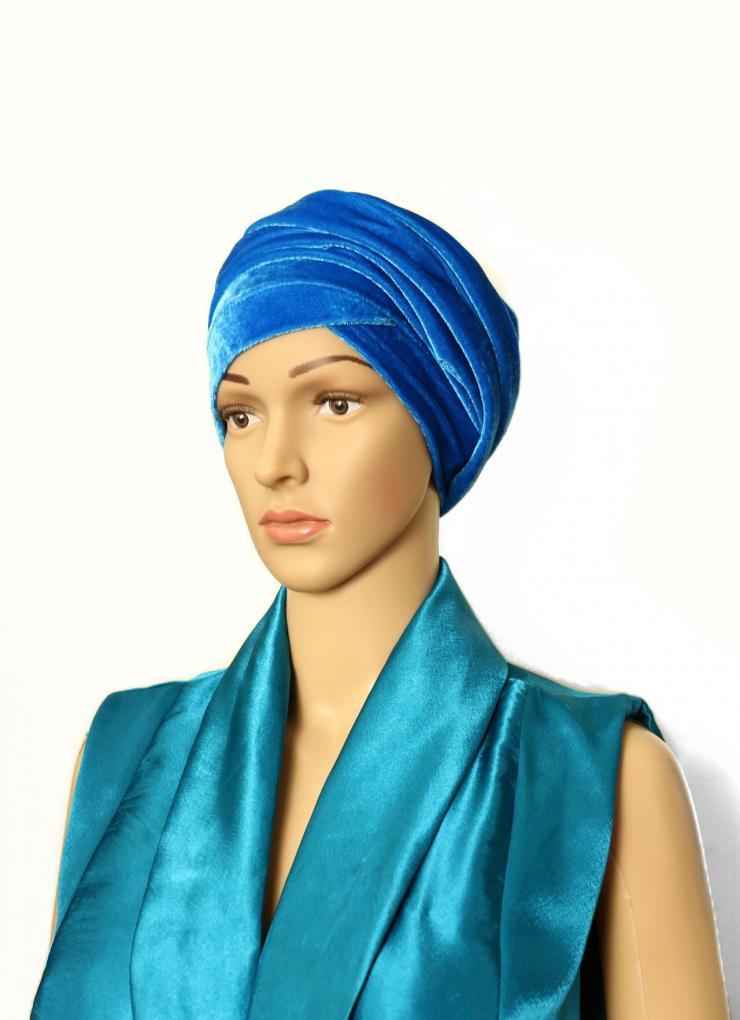 Velvet turban blue