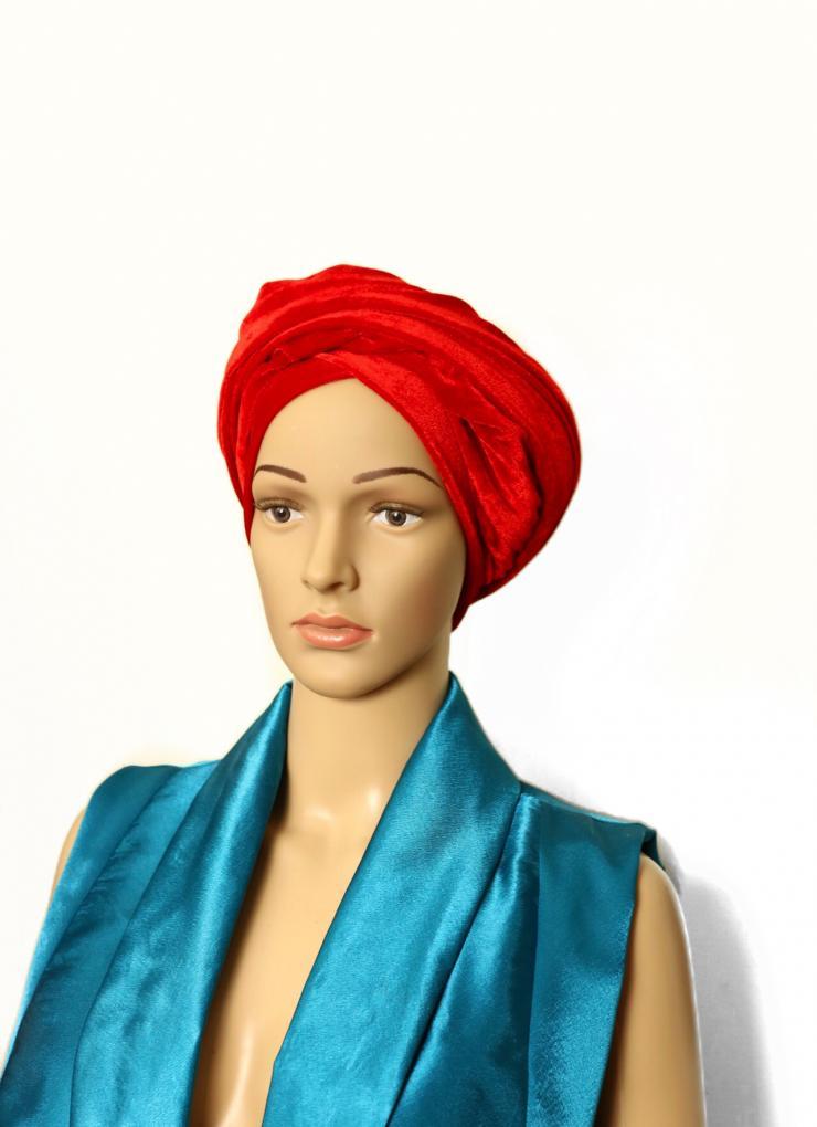 Velvet turban red